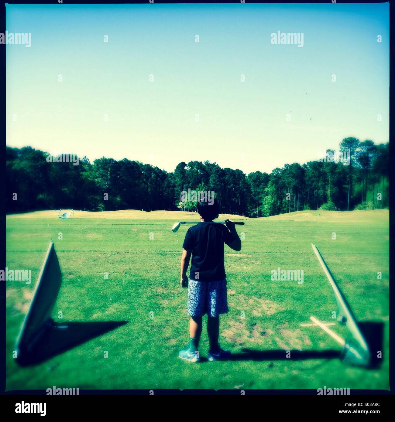 Boy golfer Stock Photo
