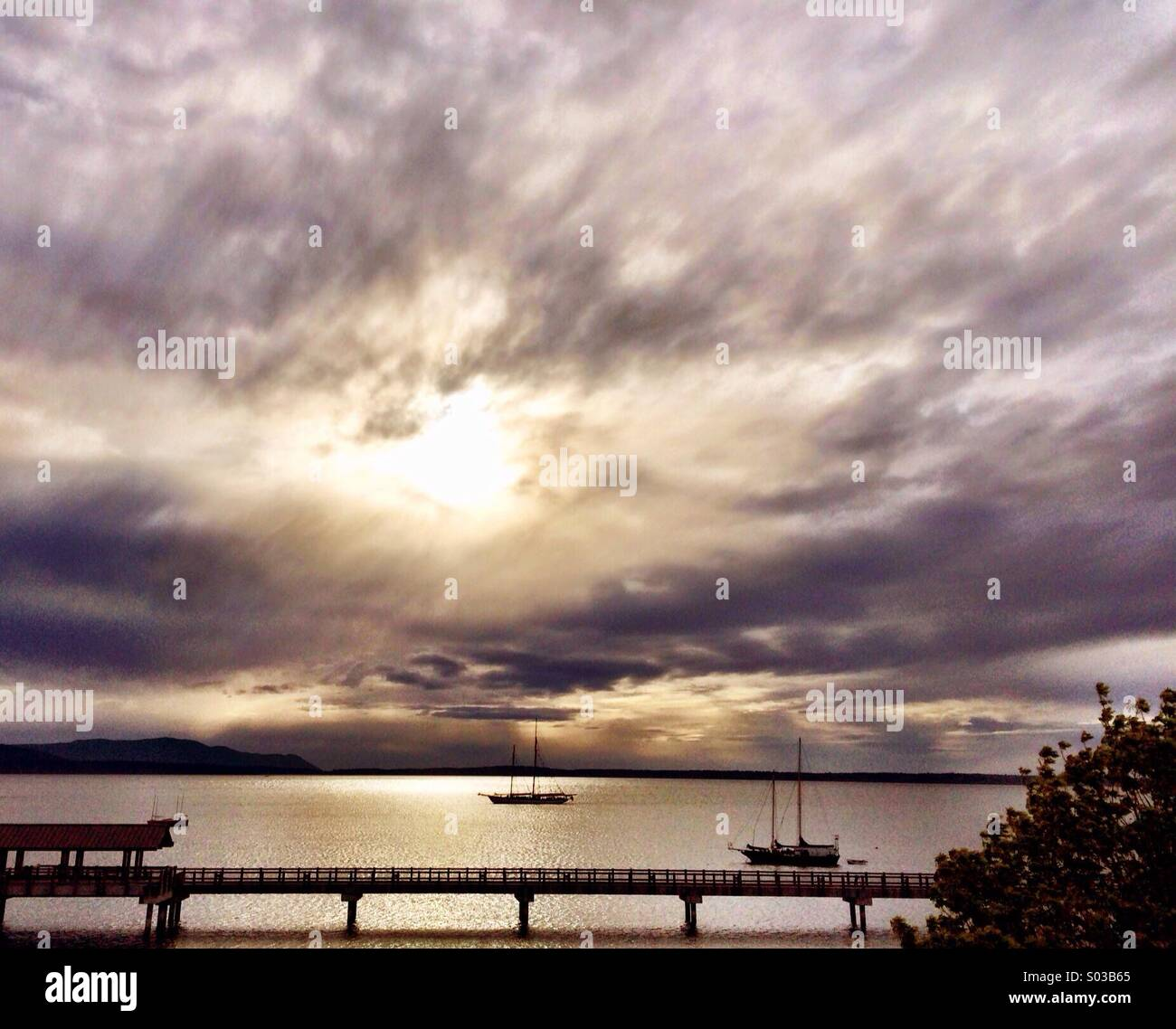 Sunset over sound - Stock Image