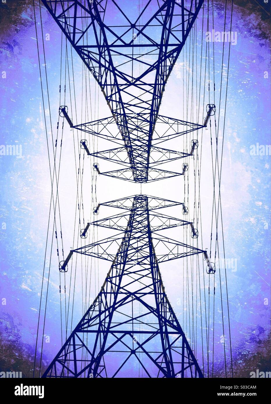 Pair of electricity pylons - Stock Image