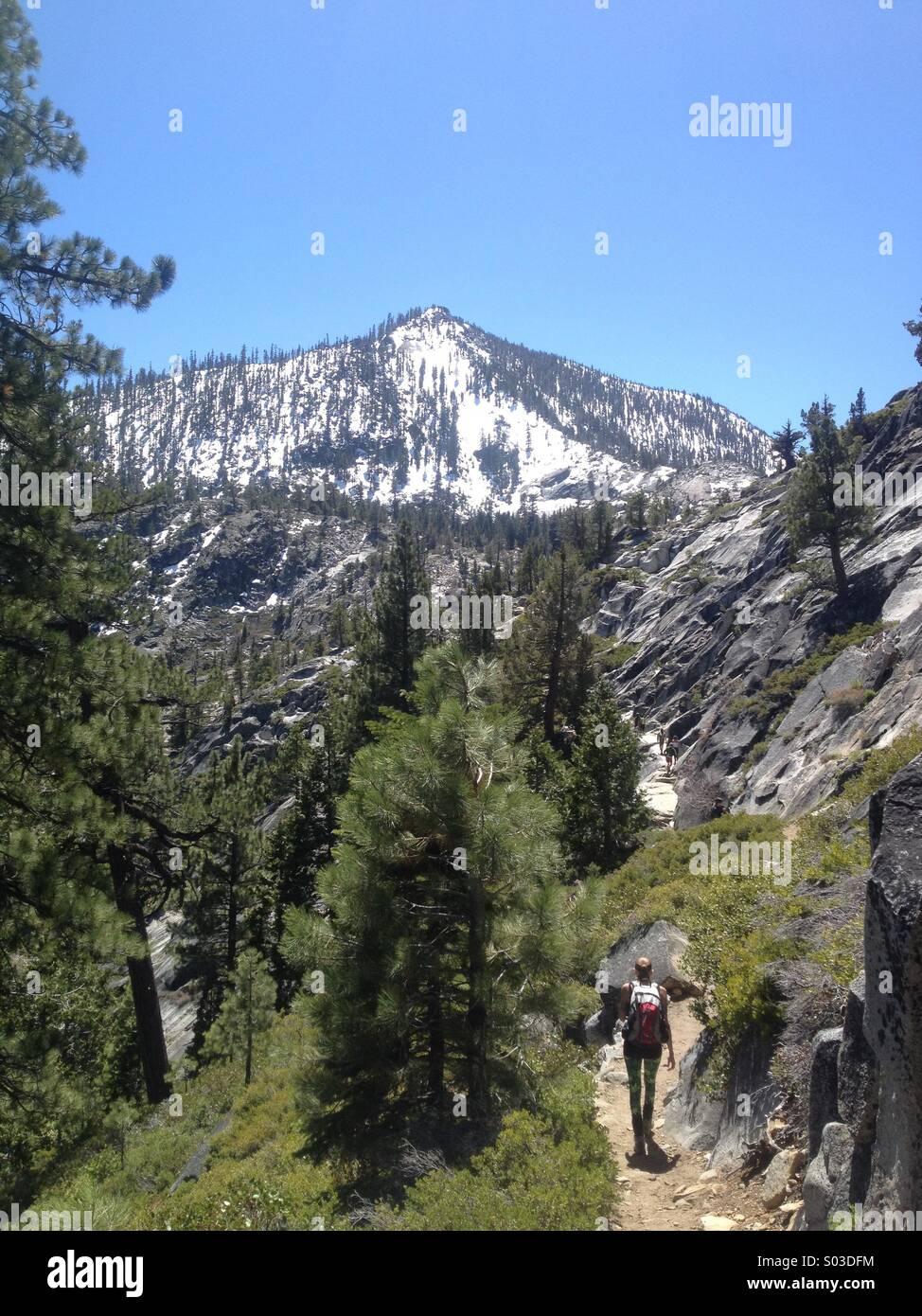 Hiking trail to cascade falls in Lake Tahoe California. Stock Photo