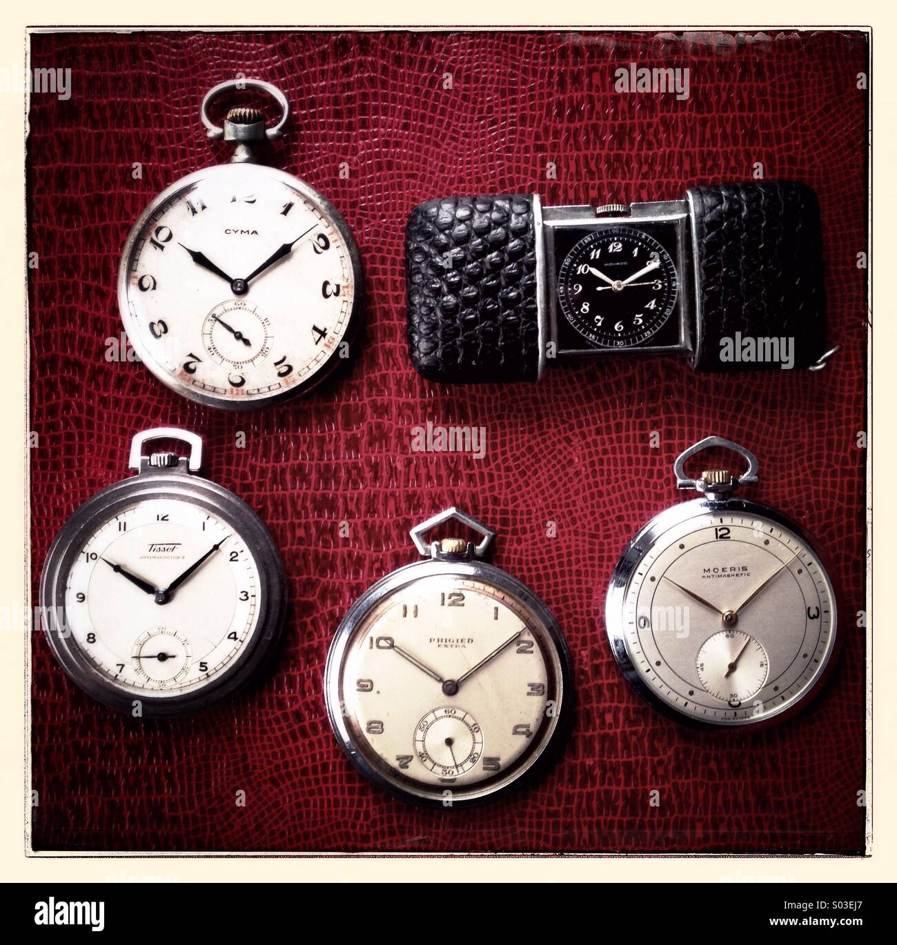 Some old pocket watches - Stock Image