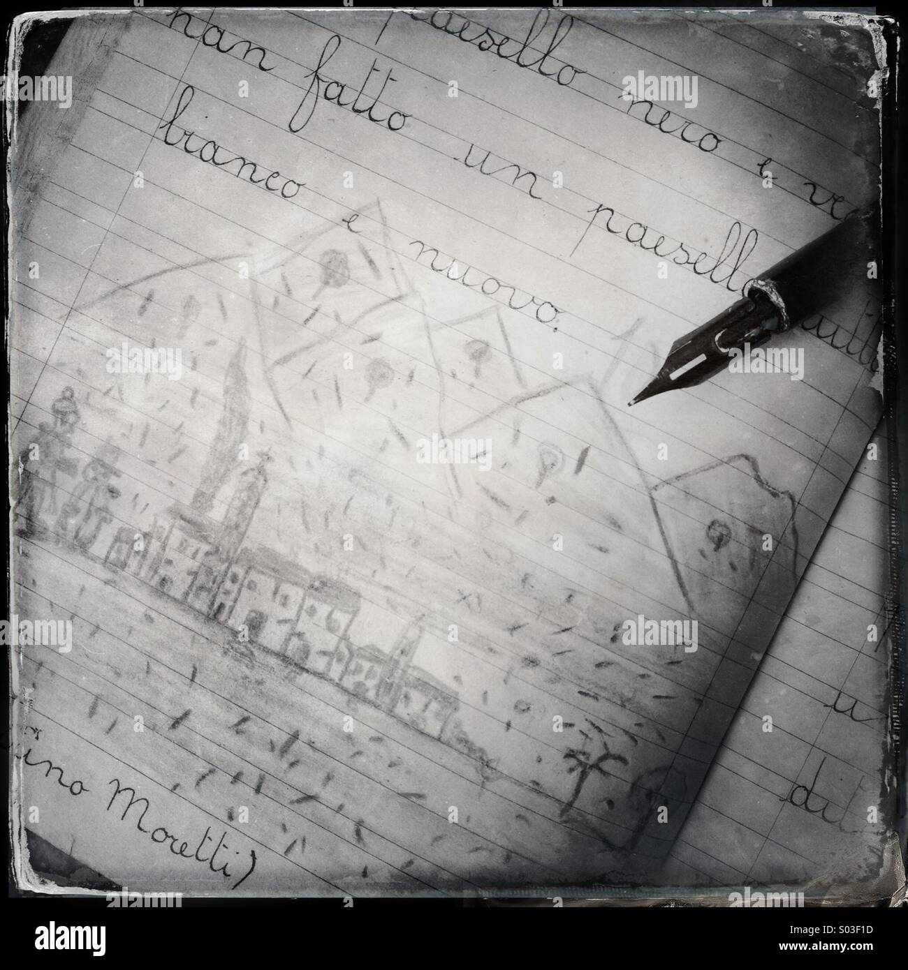 Old school notebook with writings and drawings - Stock Image