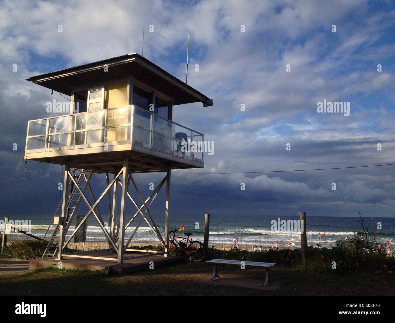 Life saver watch tower with approaching storm at the beach in Australia - Stock Image