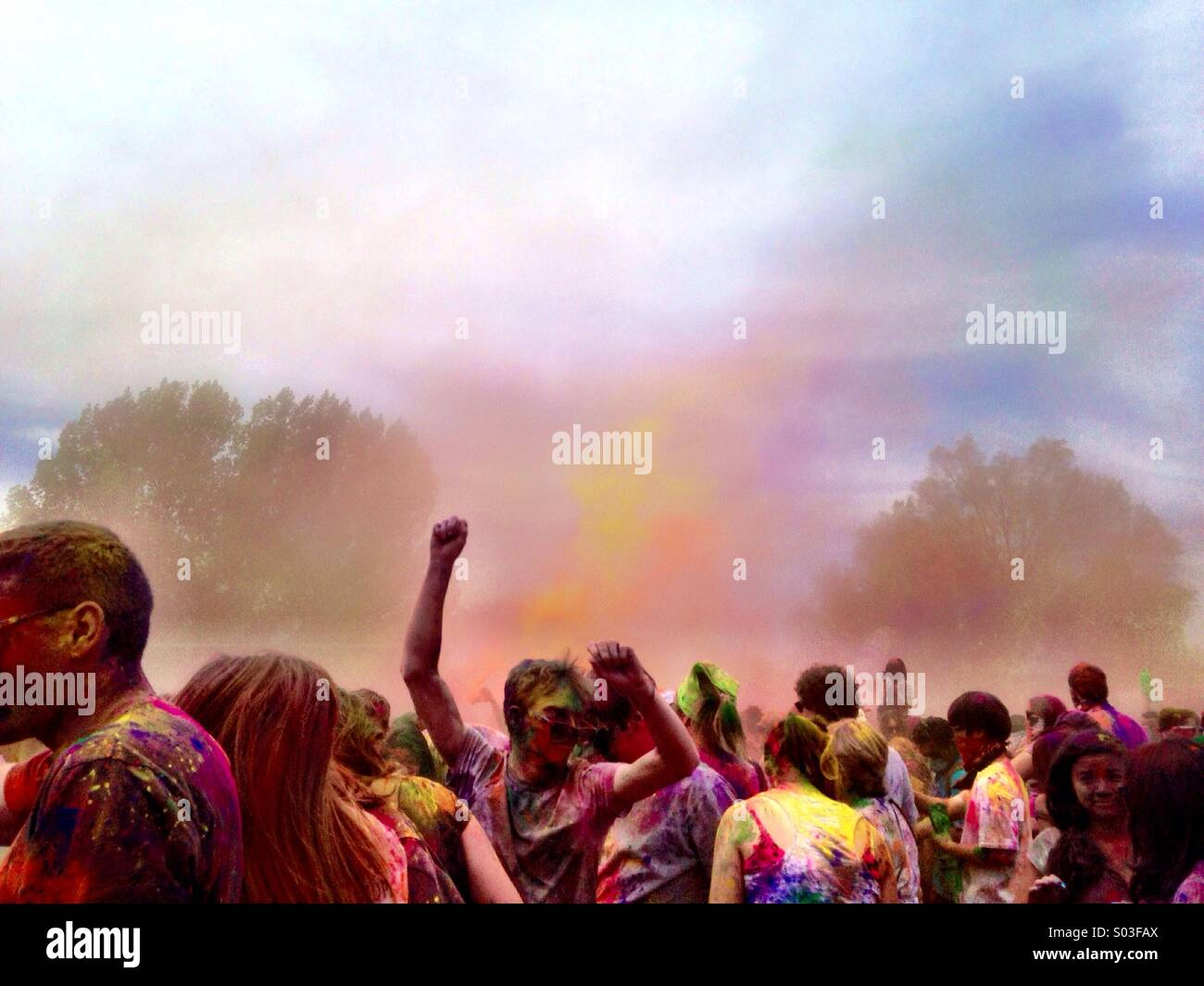 The crowd at the Holi Festival of Colors in Salt Lake City, UT. - Stock Image