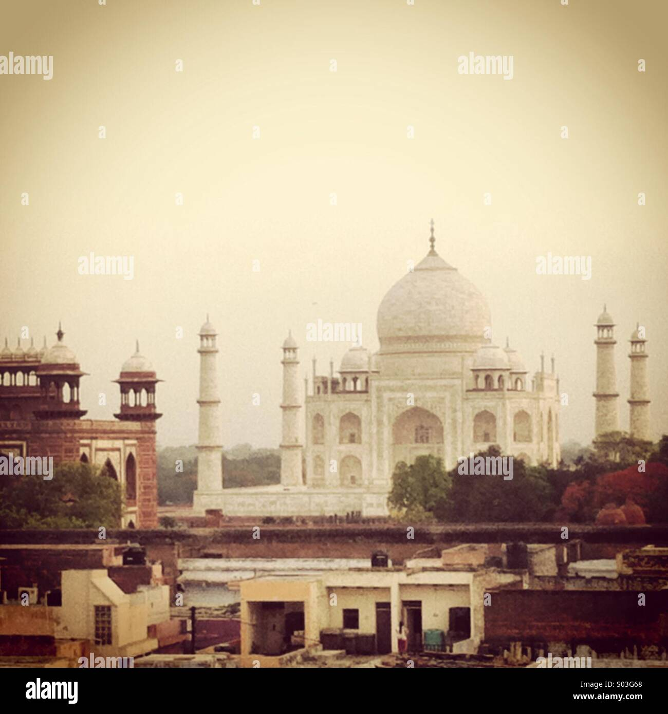 This is a view of the great Taj Mahal from taken from the south gate early in the morning. - Stock Image