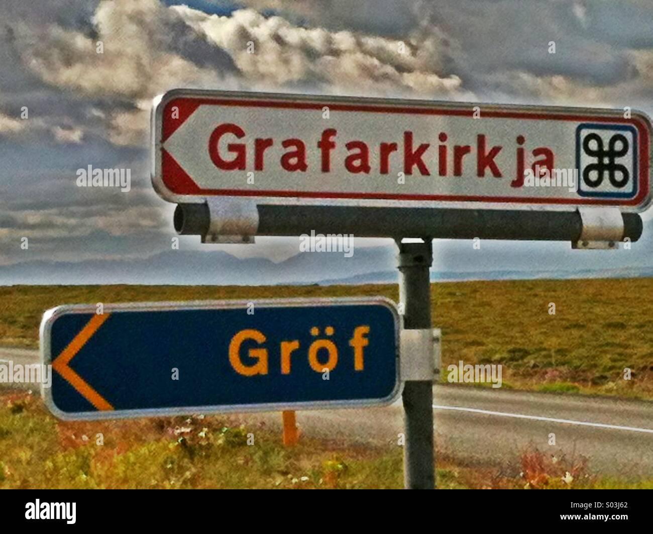 Road signs pointing to Grafarkirkja church near Grof Iceland - Stock Image