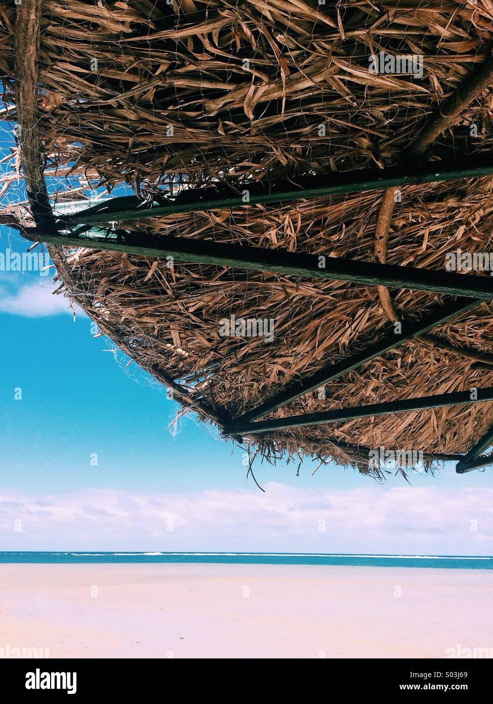 Under a straw beach umbrella on the beach in Fiji - Stock Image