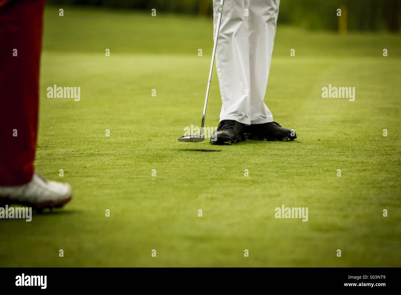 Golf players at hole - Stock Image