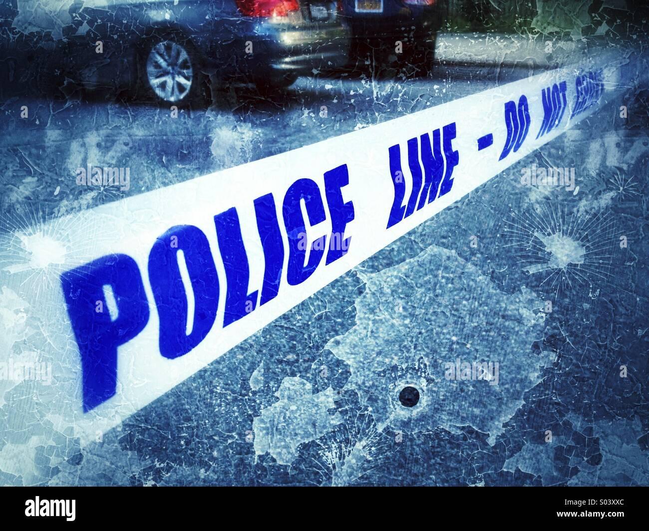 Crime scene tape at scene of shooting in New York City - Stock Image