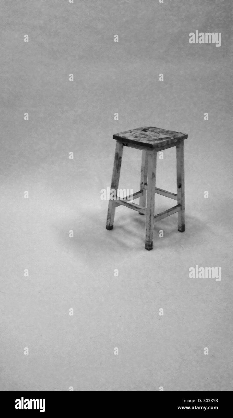 Marvelous A Paint Splattered Old Stool On A White Background Stock Lamtechconsult Wood Chair Design Ideas Lamtechconsultcom