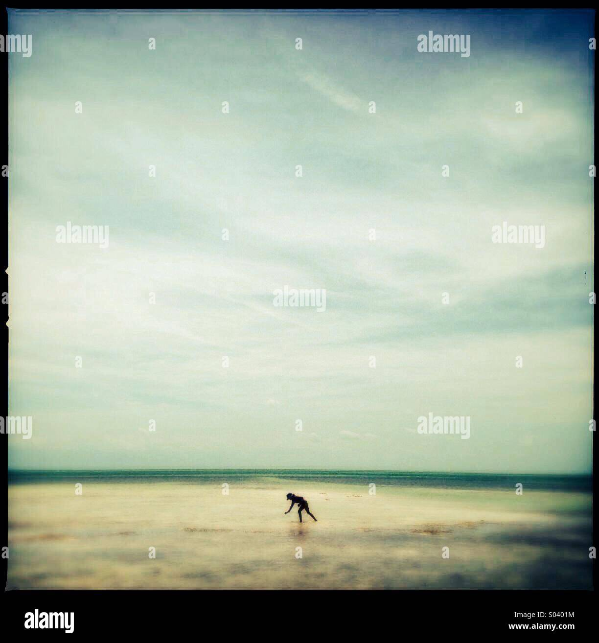 Little girl exploring the beach in Florida, USA - Stock Image