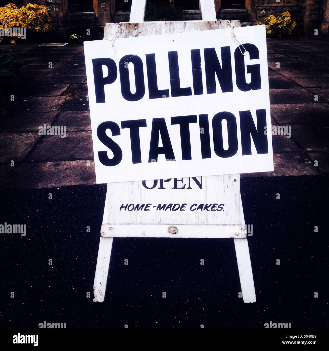 Polling station for voting in the European election and local council polls. - Stock Image