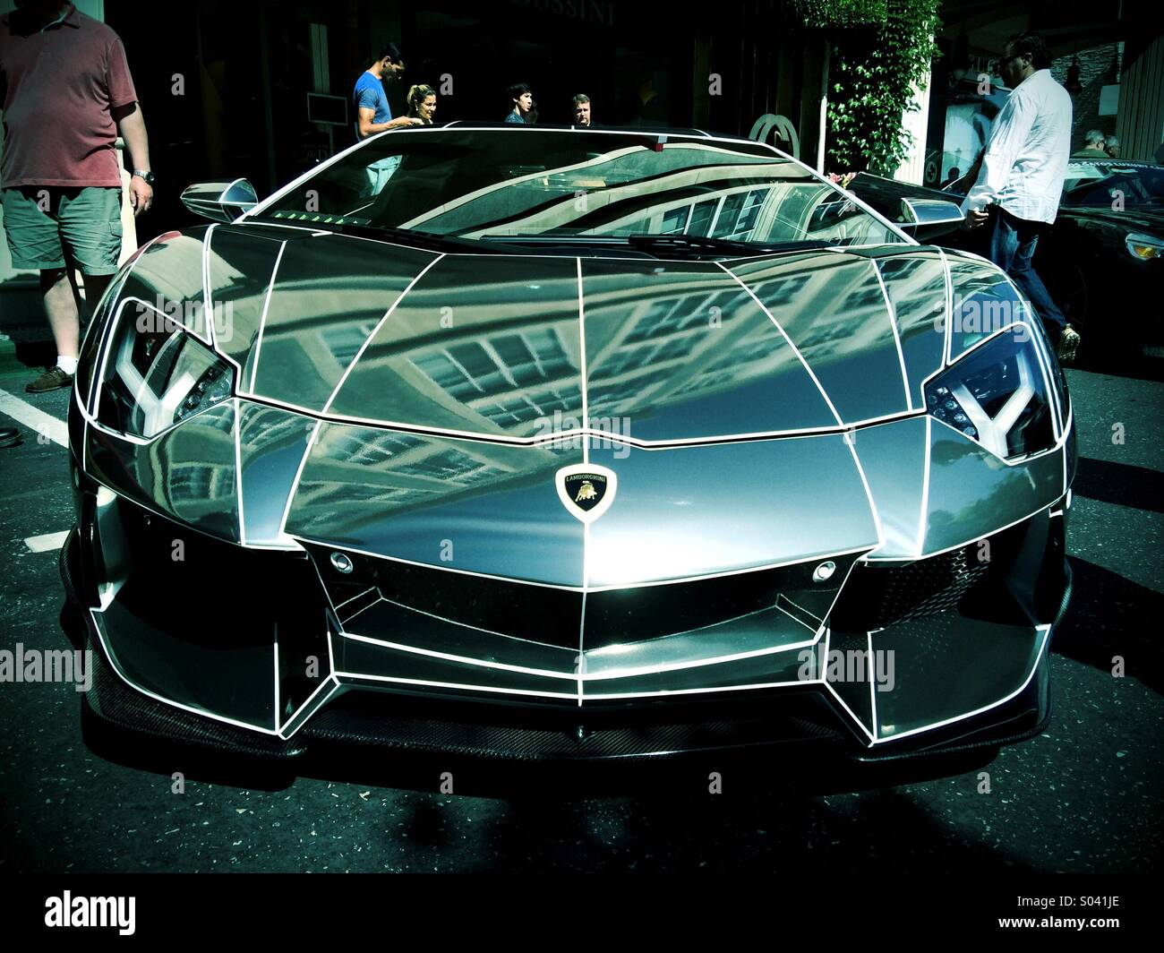 custom chrome tron lamborghini aventador stock photo 309875734 alamy. Black Bedroom Furniture Sets. Home Design Ideas
