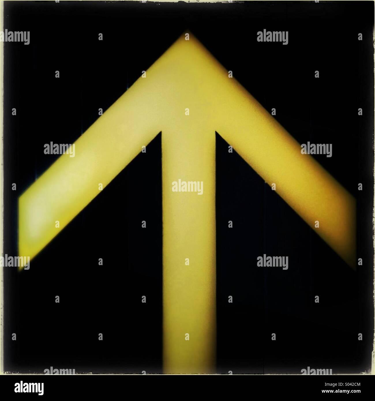 Up glow arrow sign - Stock Image
