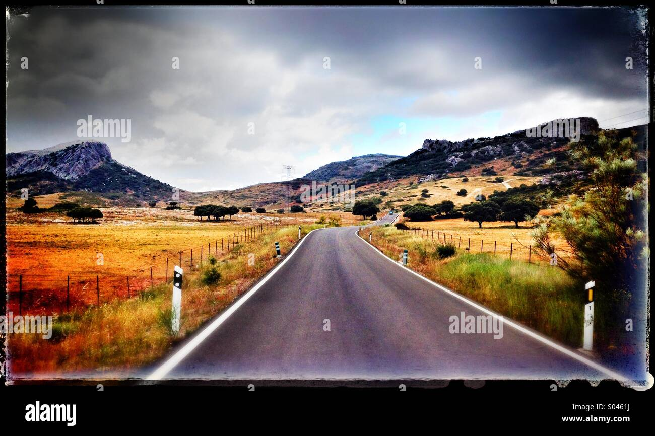 Landscape in the Serrania de Ronda, Malaga Province, Andalusia, southern Spain. - Stock Image