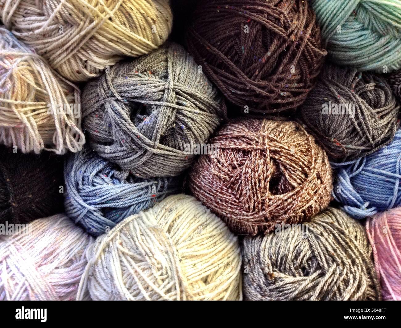 Balls of Aran wool - Stock Image