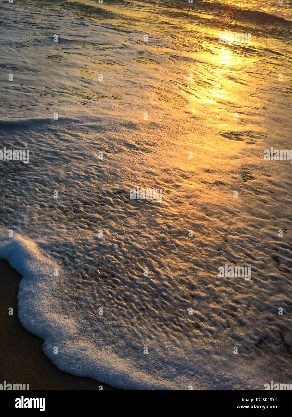 A foam laced wave lapping on the shore at sunrise. - Stock Image