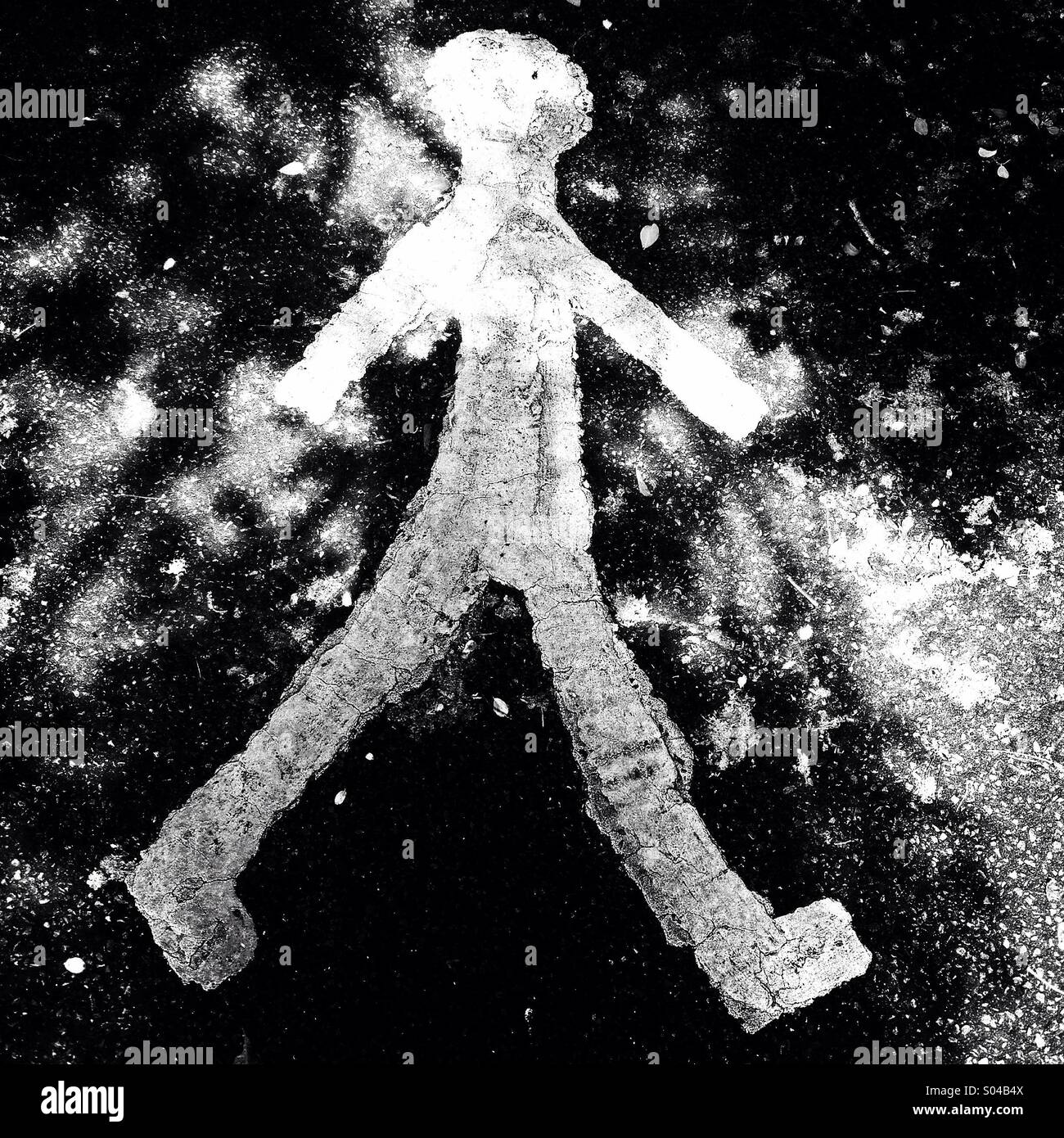Symbol Of Person Walking In White Paint On Tarmac Under Tree Shade