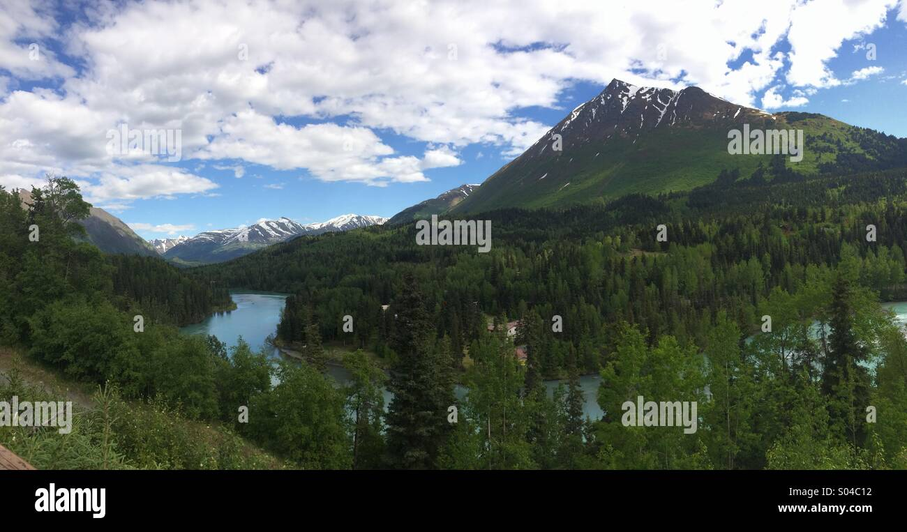 Mountain view in Cooper Landing, Alaska. Springtime in the last frontier. - Stock Image