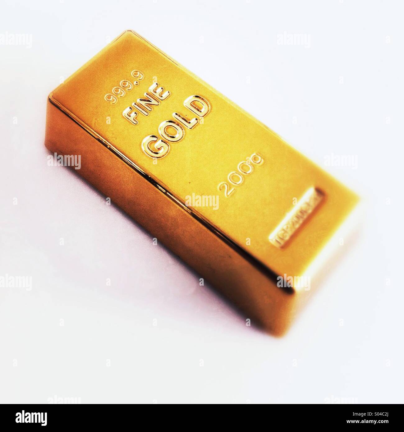 Gold bar 200 grams - Stock Image