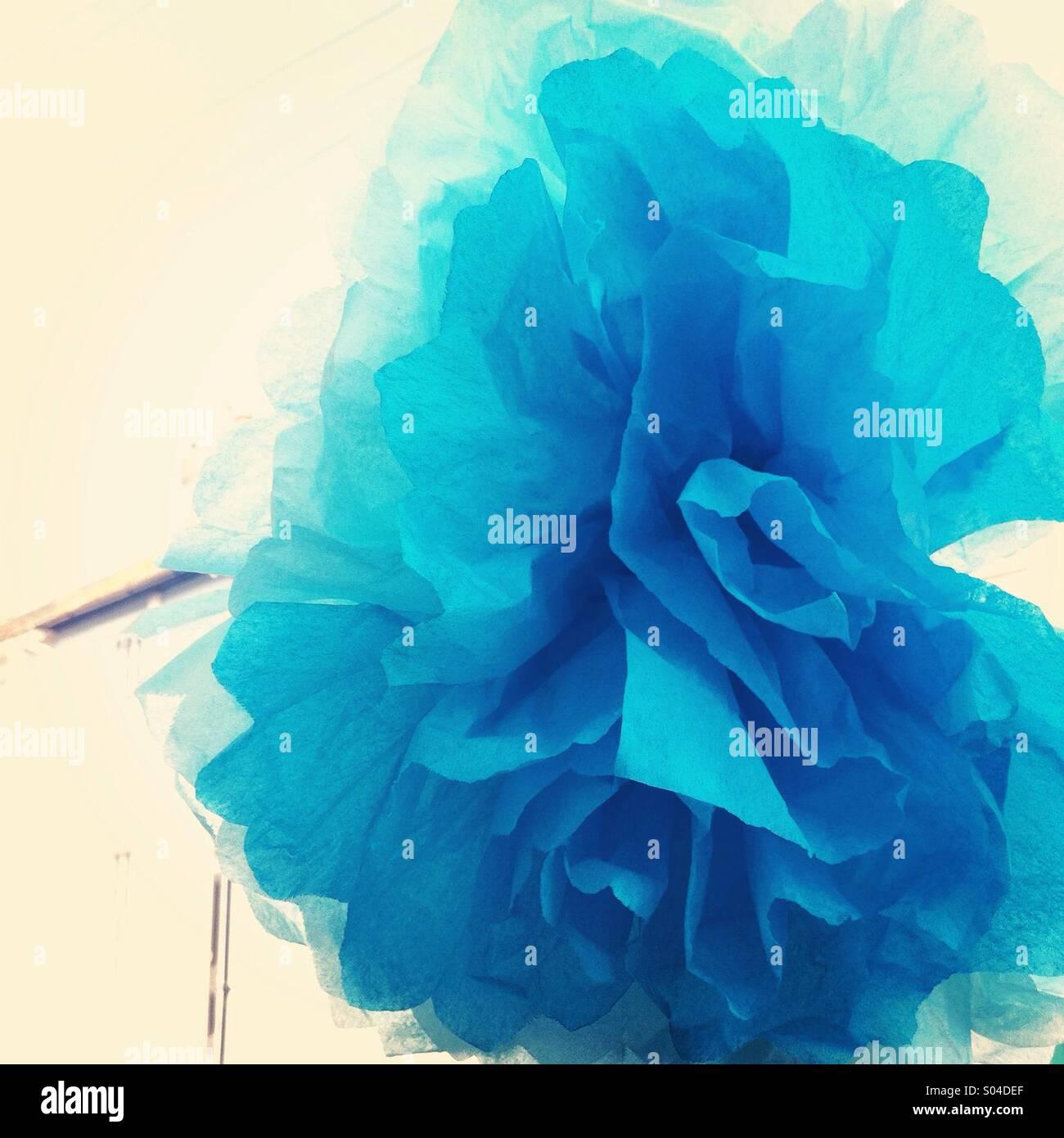 Blue paper flower - Stock Image
