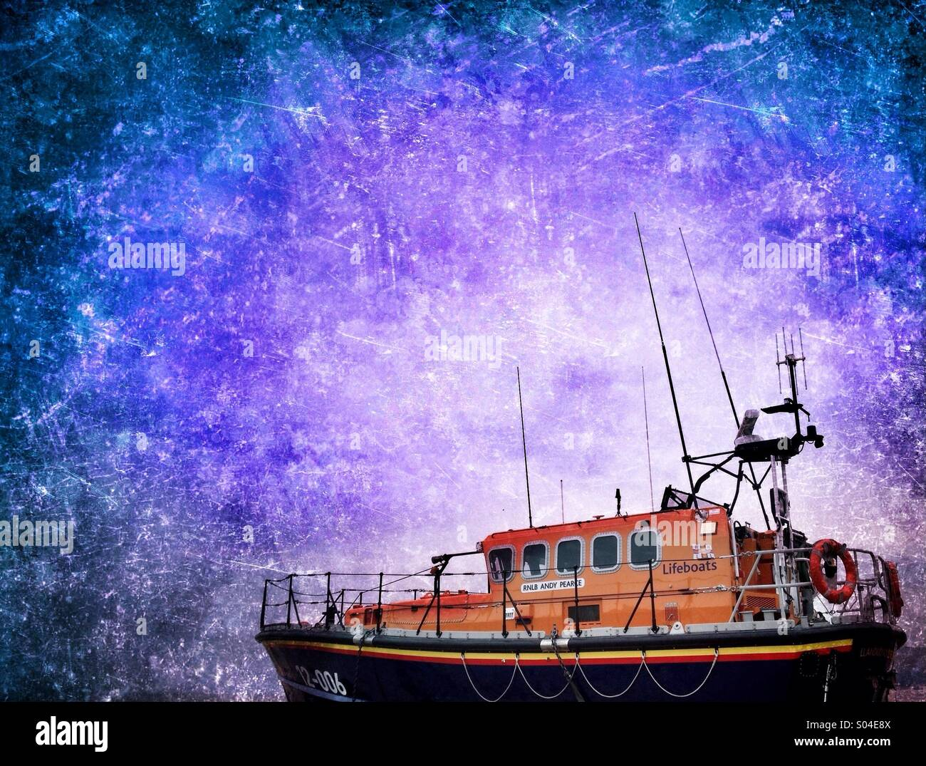 Lifeboat against abstract sky - Stock Image