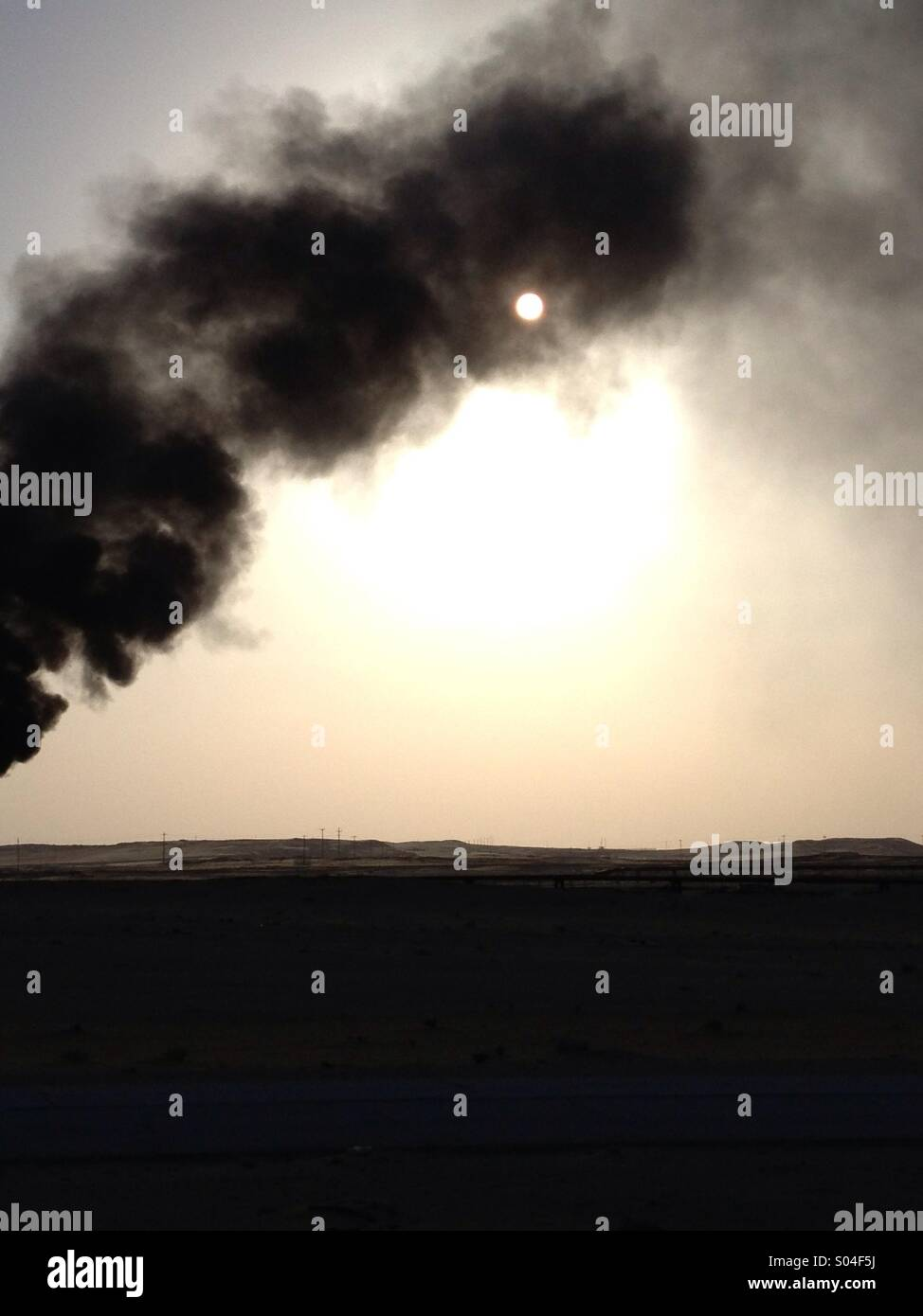 Gas Flaring in Middle East - Stock Image
