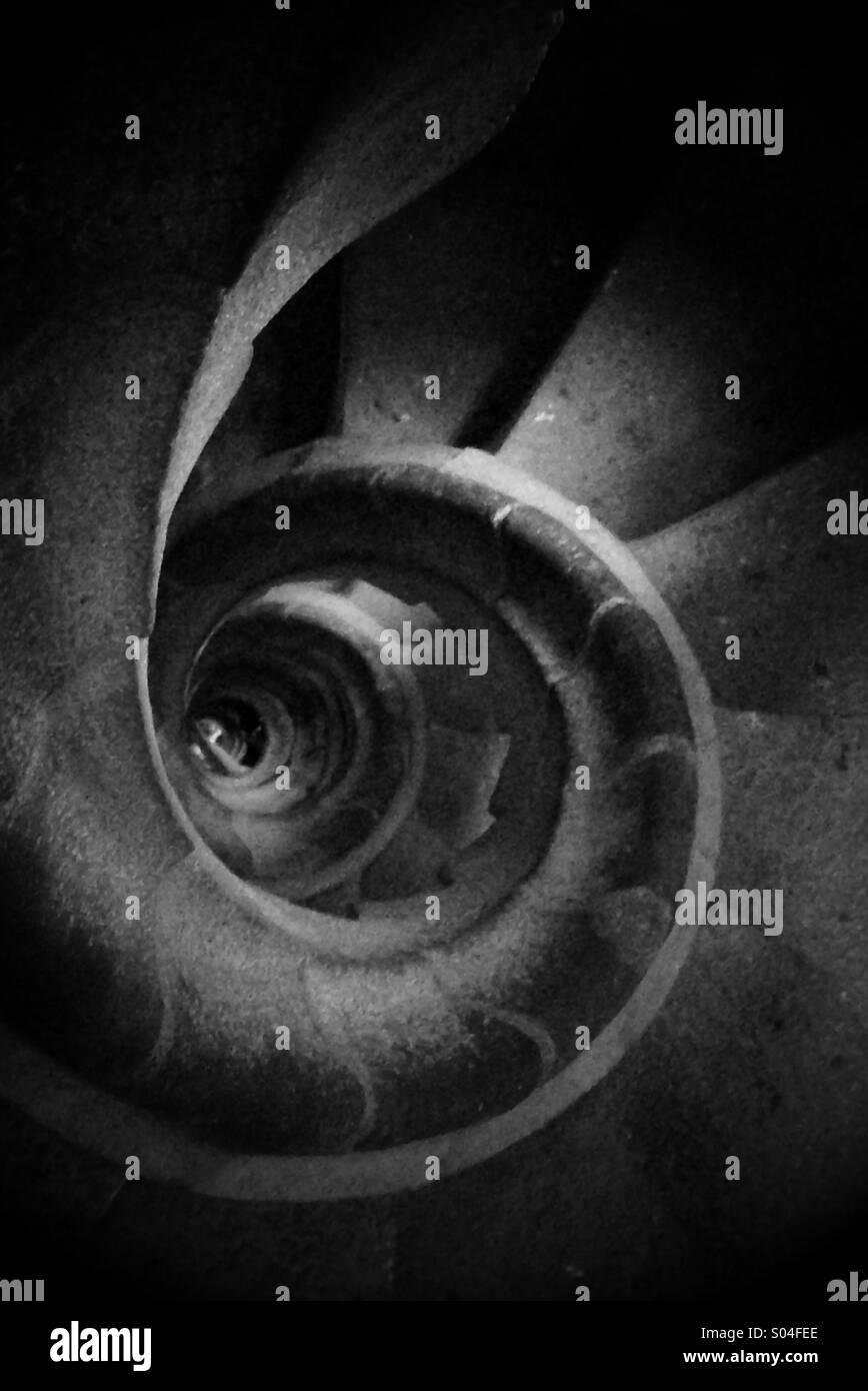 Spiral staircase looking downwards at La Sagrada Familia, Barcelona - Stock Image