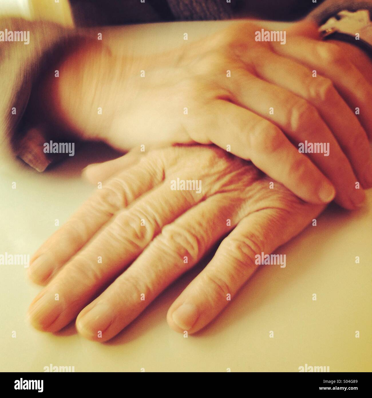 Mothers hands - Stock Image