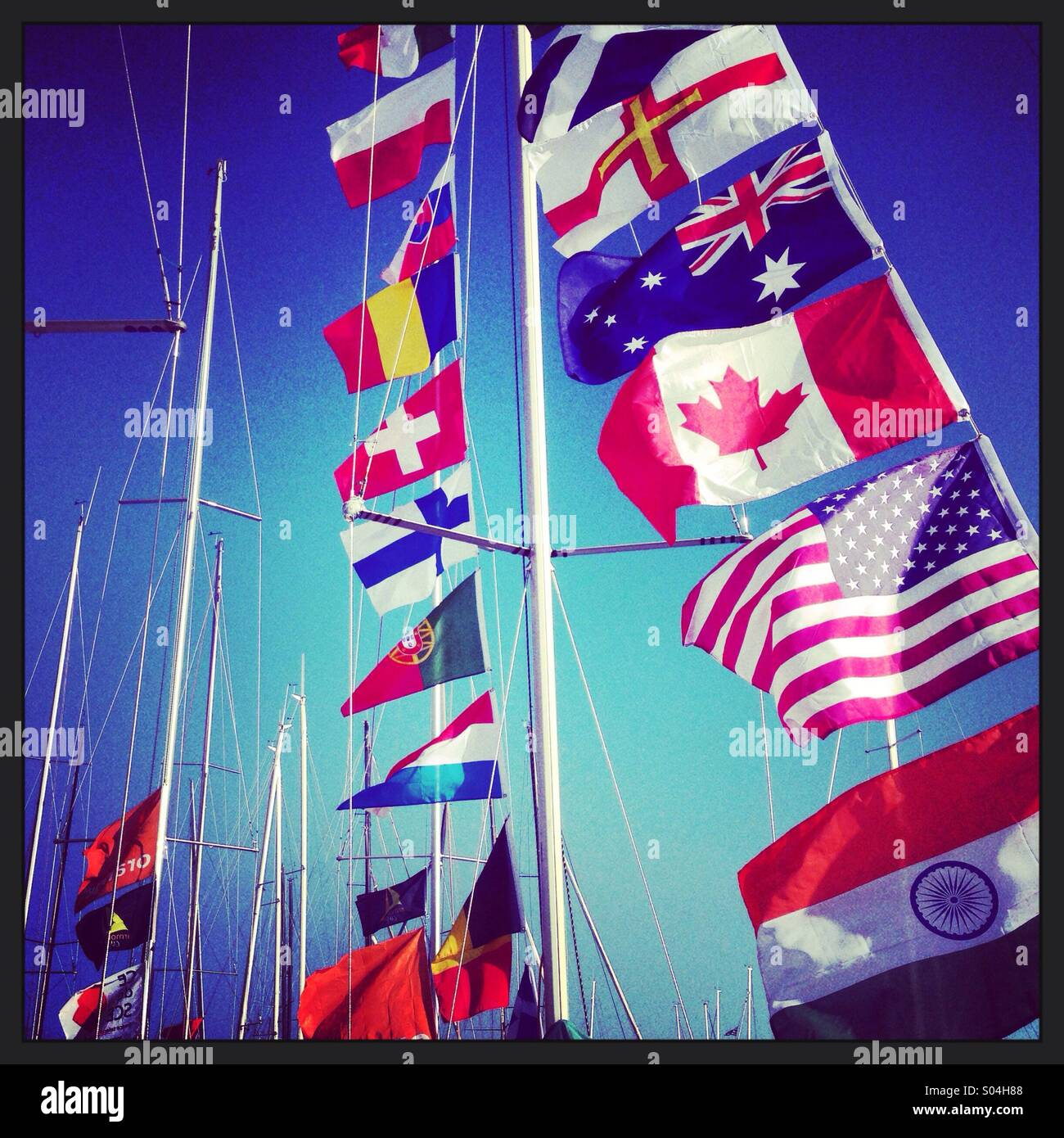 Flags on a yacht - Stock Image