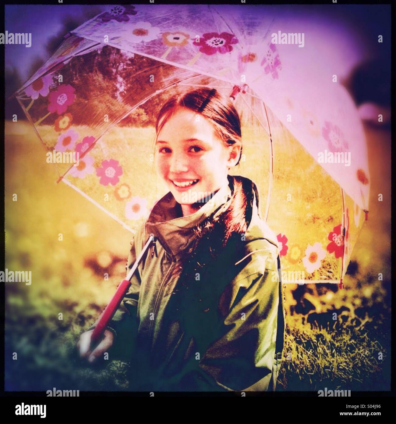 Umbrella Giirl - Stock Image