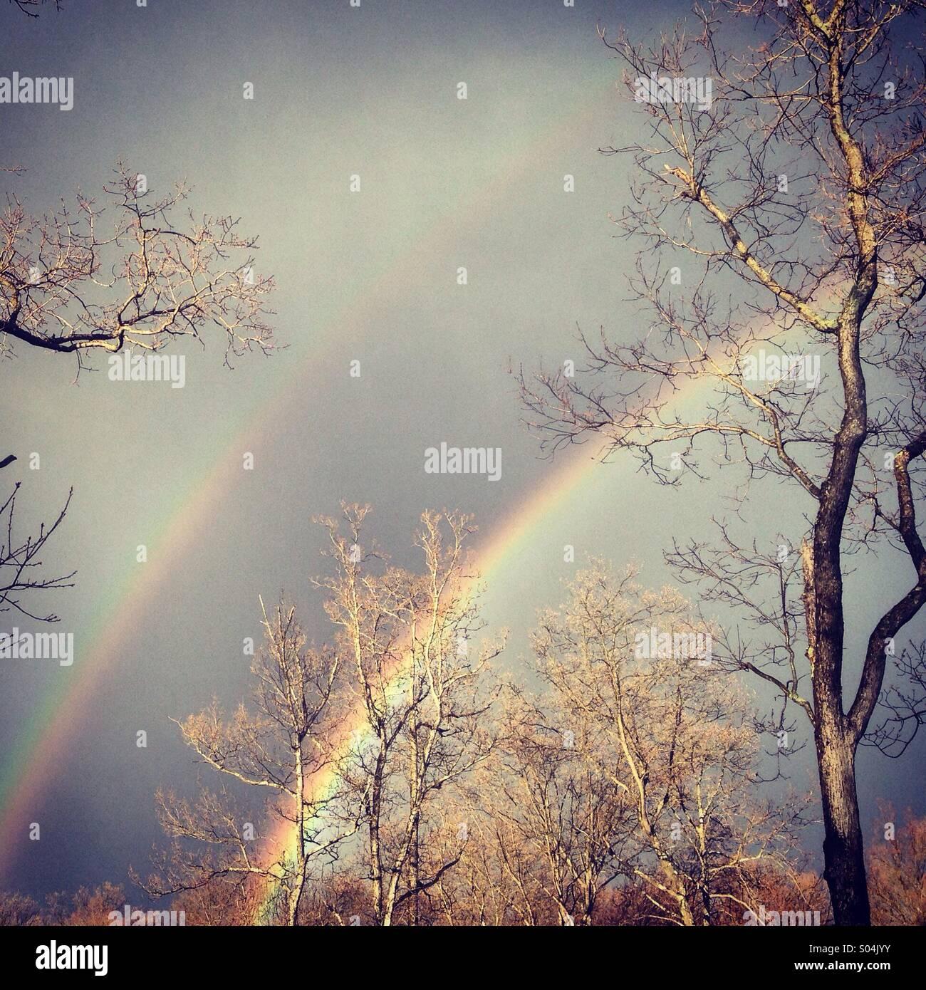 Double rainbow. - Stock Image