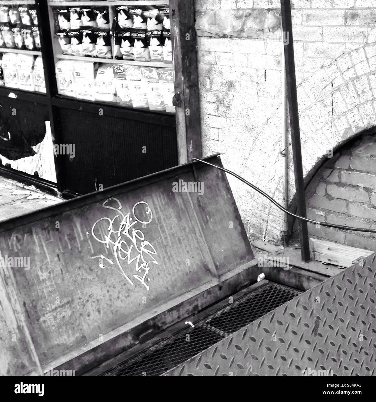Graffitied Metal Basement Door, Brooklyn, NY   Stock Image