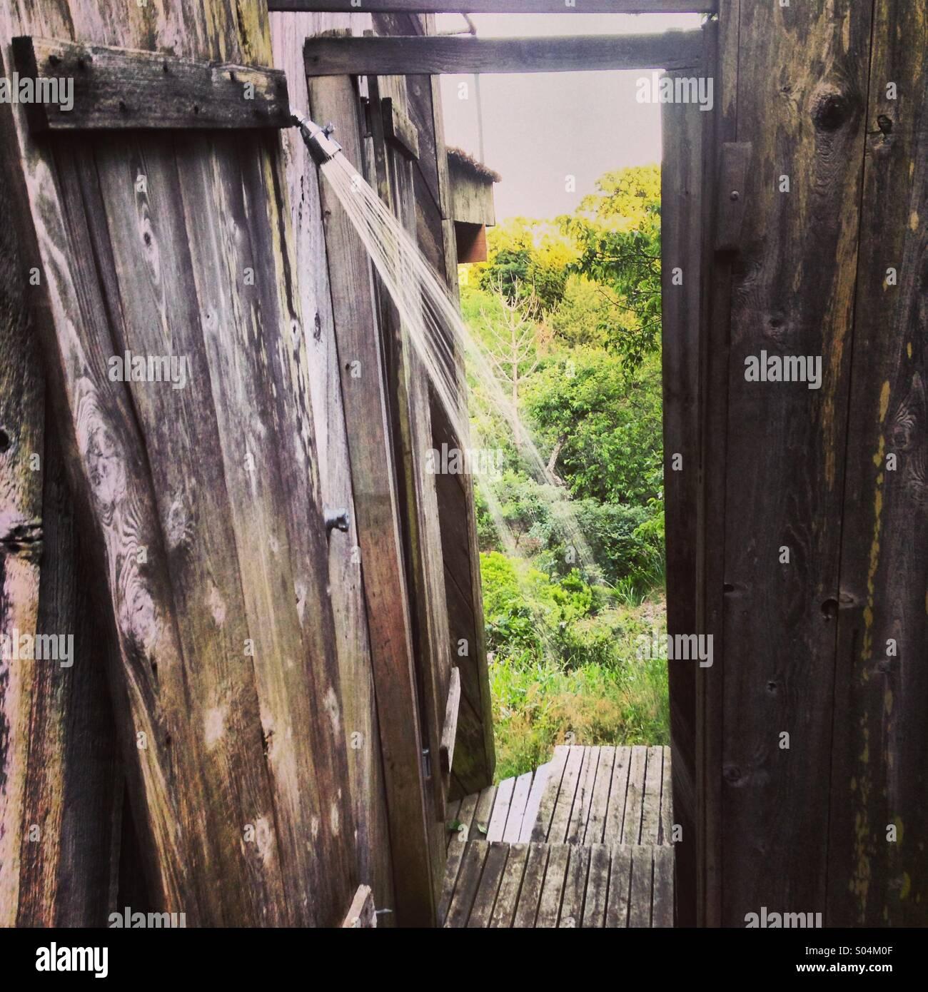 Hamptons outdoor shower - Stock Image