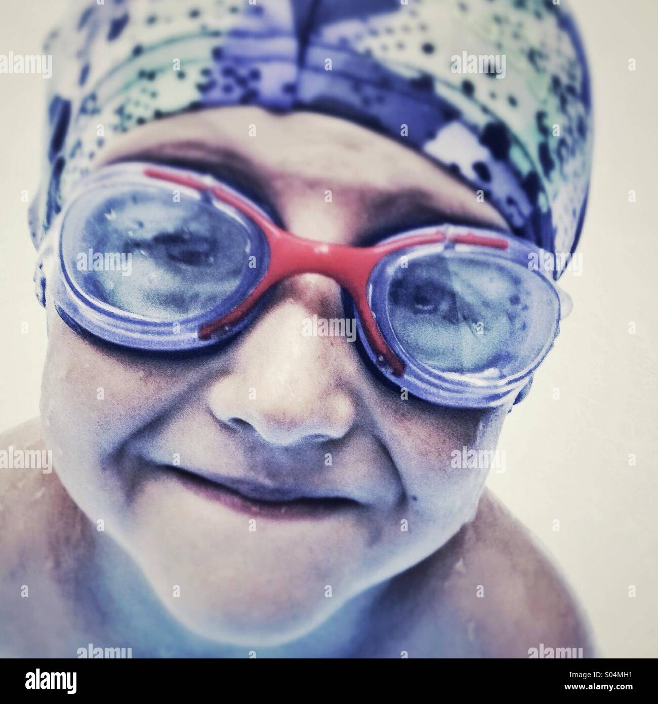 Portrait of smiling boy with goggles Stock Photo
