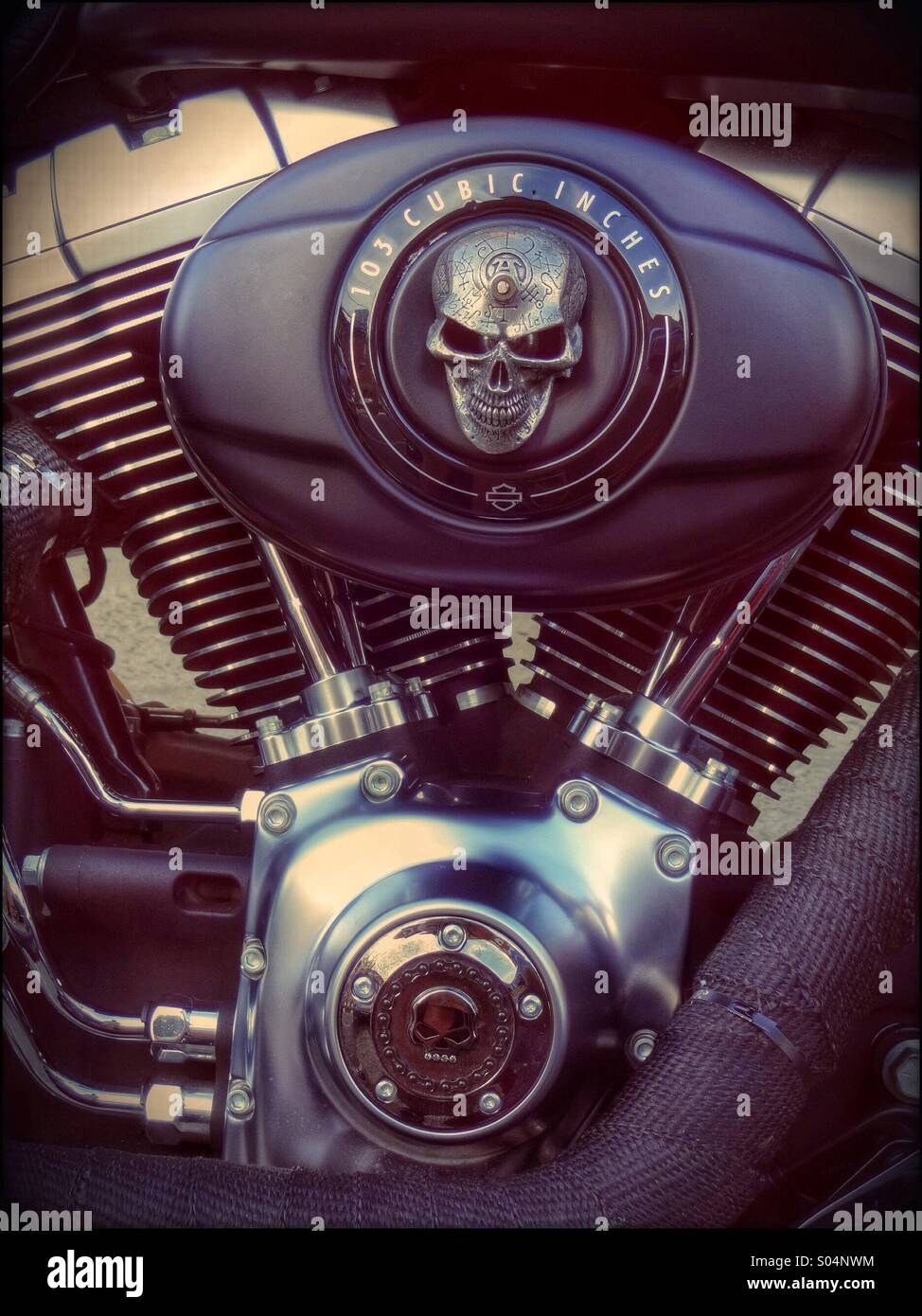 103 cubic inches engine on a motor bike, 2 cylinders and amazing noise - Stock Image