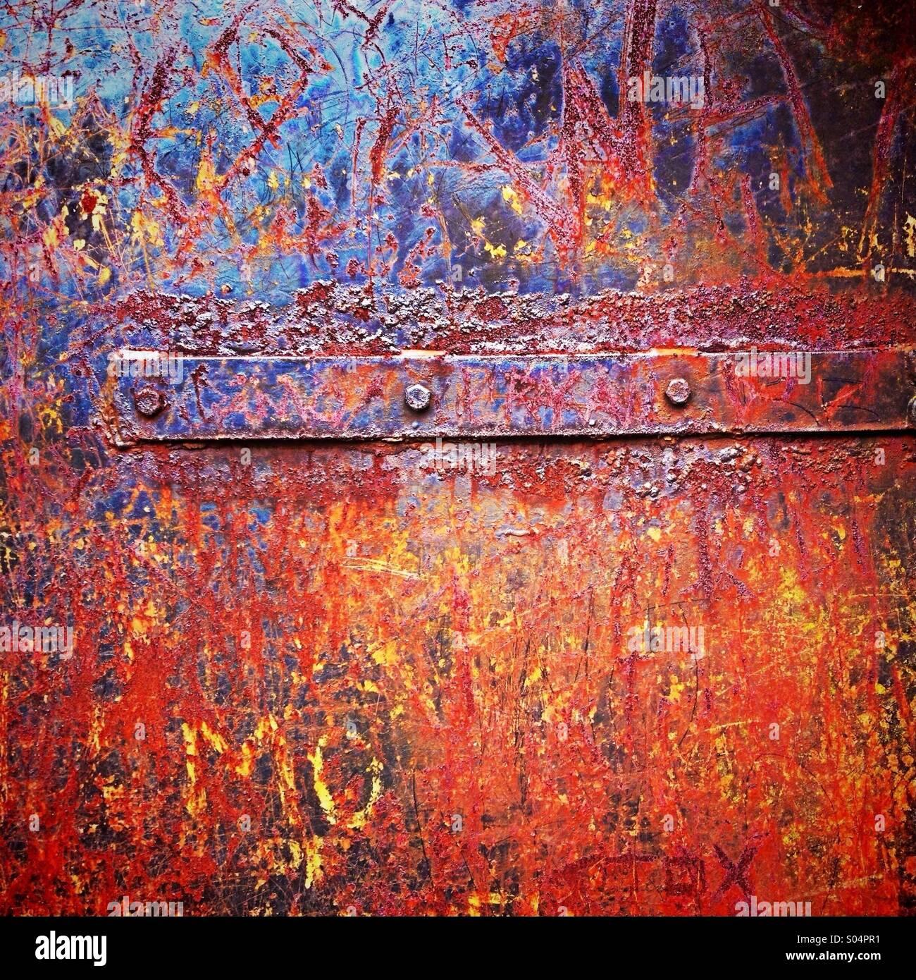 Rust on metal door - Stock Image