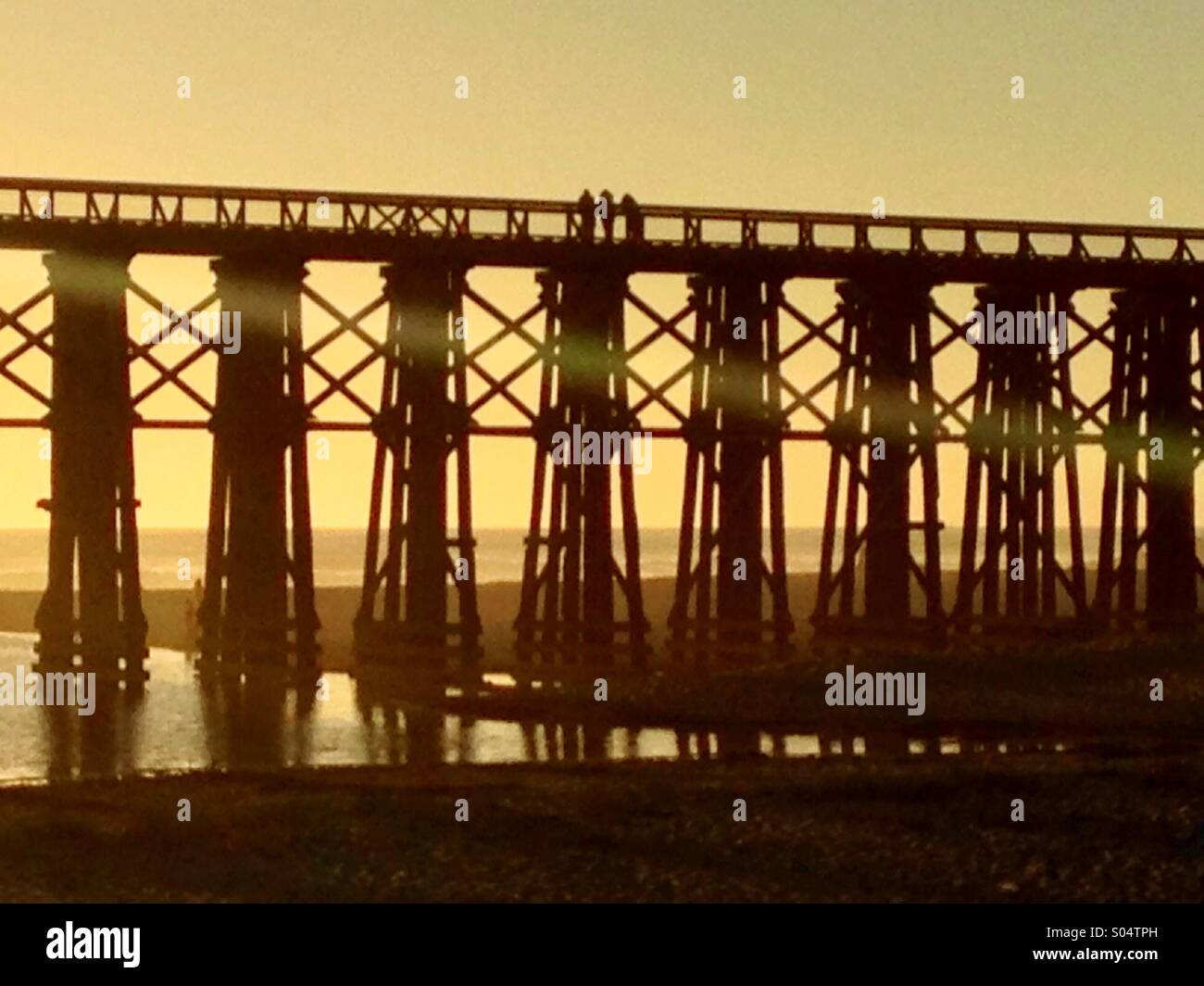 Pedestrian bridge in a Fort Bragg, CA - Stock Image