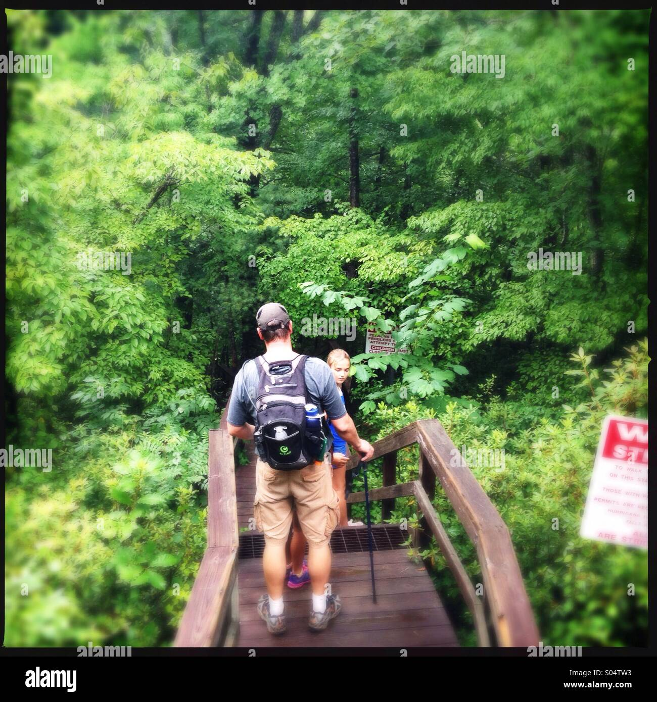 Hiking in Tallulah gorge state park in Georgia, USA - Stock Image