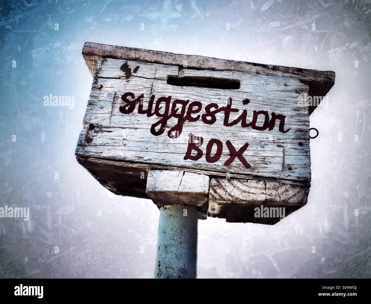 Suggestion box outside a rural school in Zimbabwe. - Stock Image