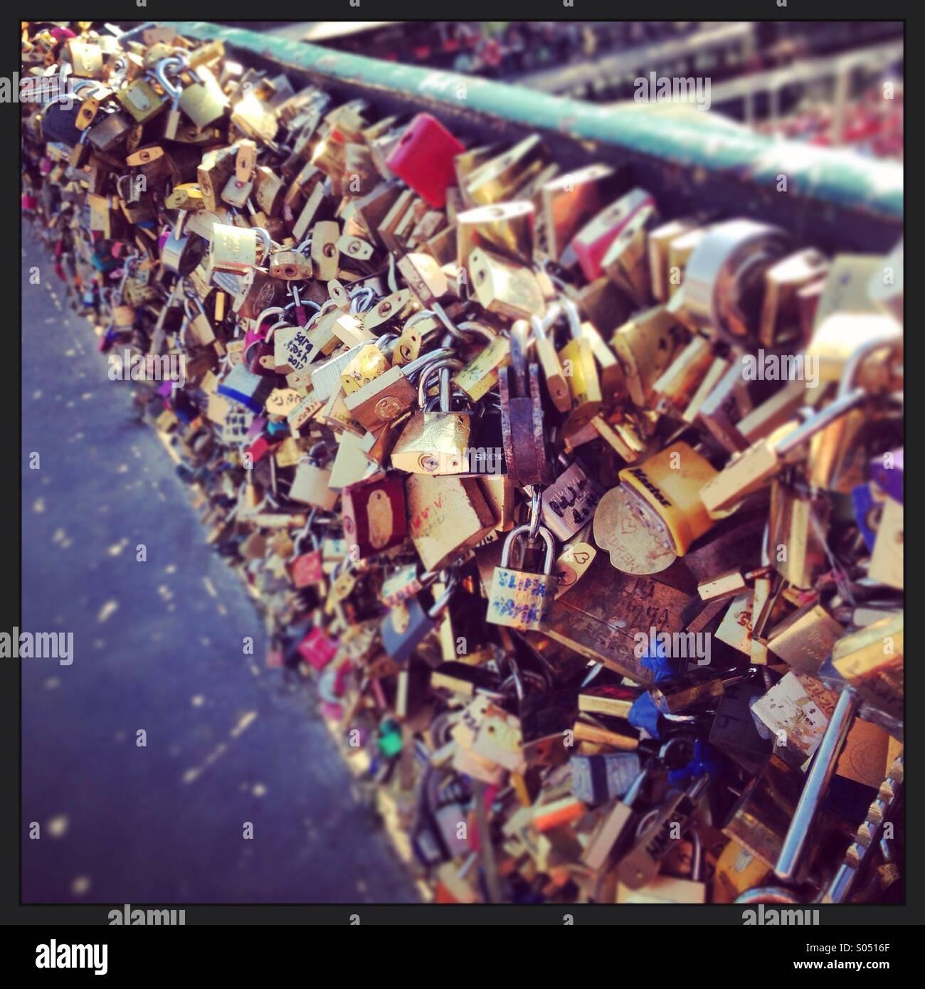 Love Lock Bridge - Stock Image