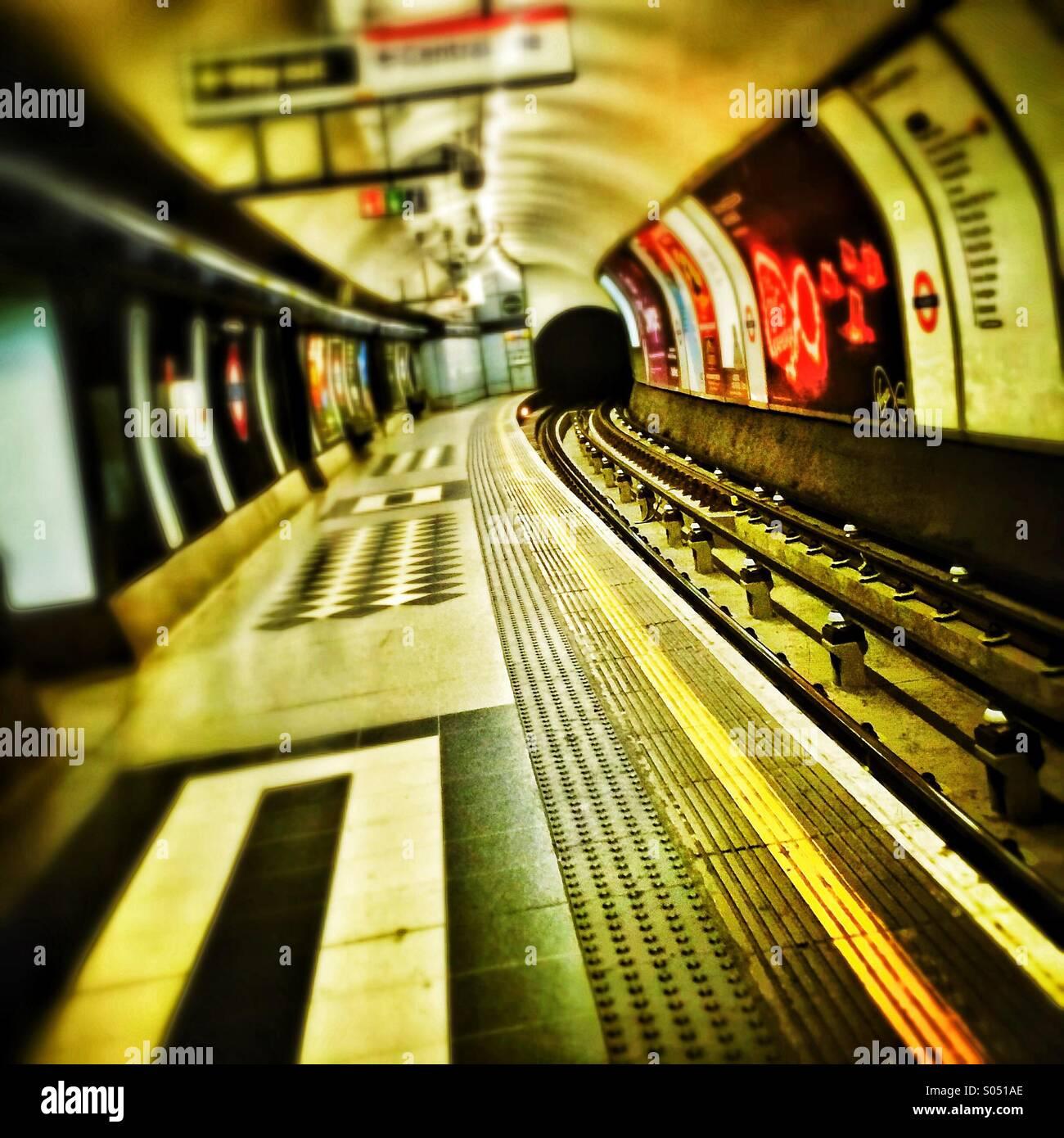 Deserted London Underground Tube station - Stock Image