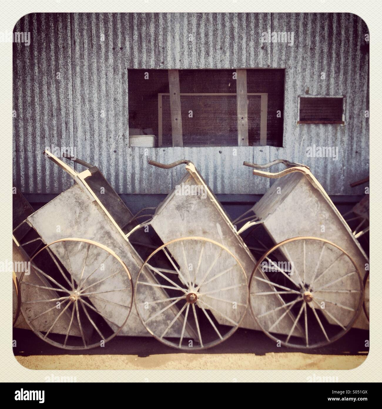 Fisherman's wheelbarrows - Stock Image