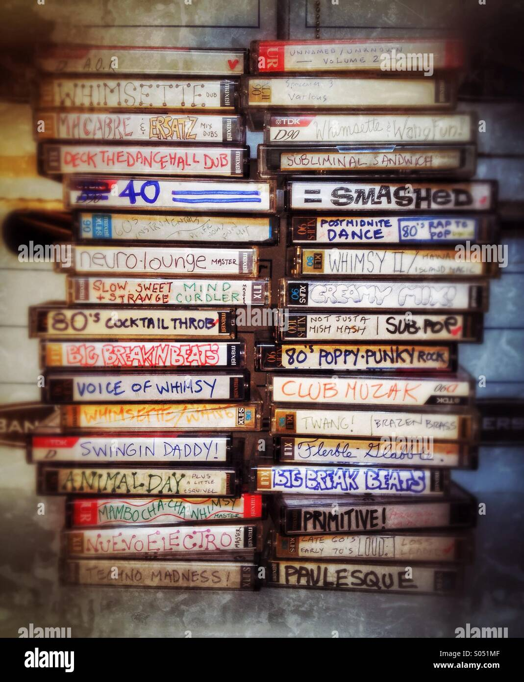 Stacks of audio cassette music mixes - Stock Image