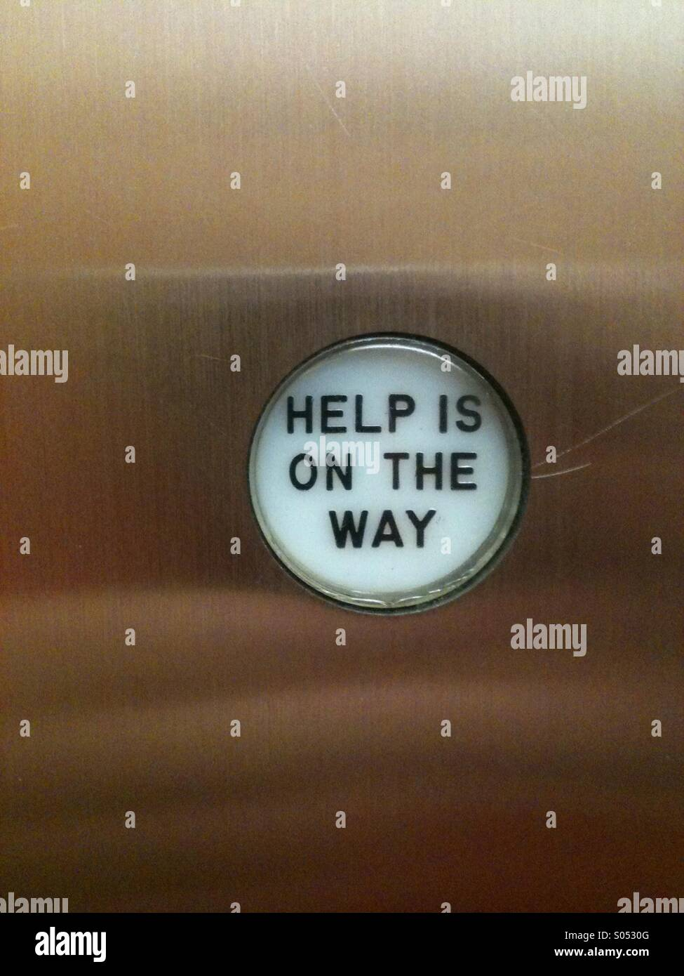 Help button in an elevator - Stock Image