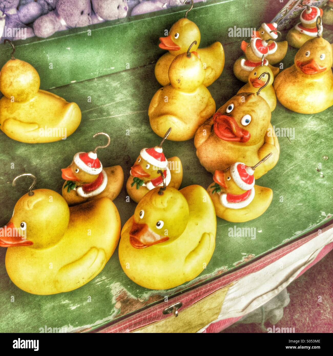 Catch the duck fairground game - Stock Image