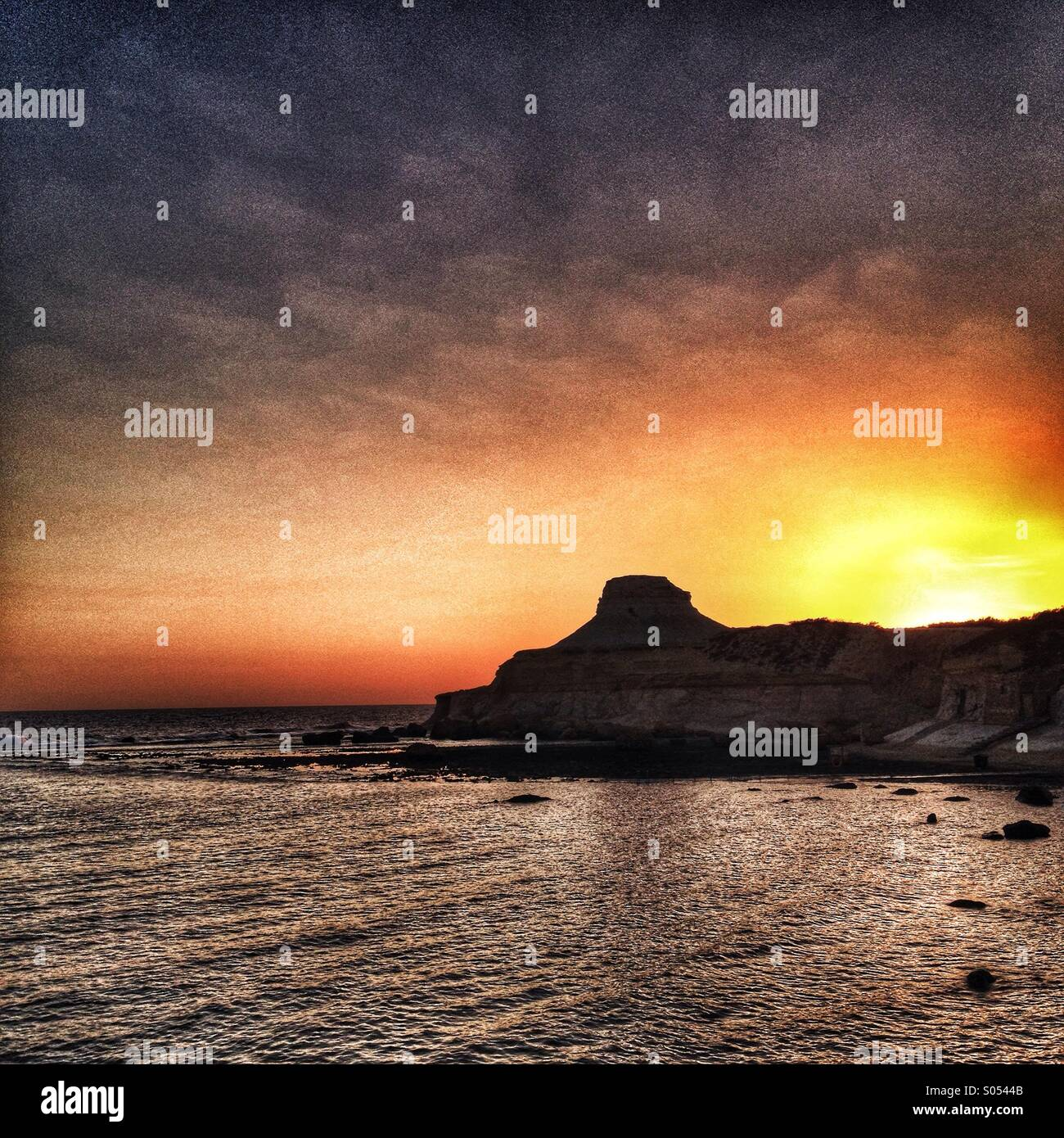 Early morning light on Gozo. - Stock Image