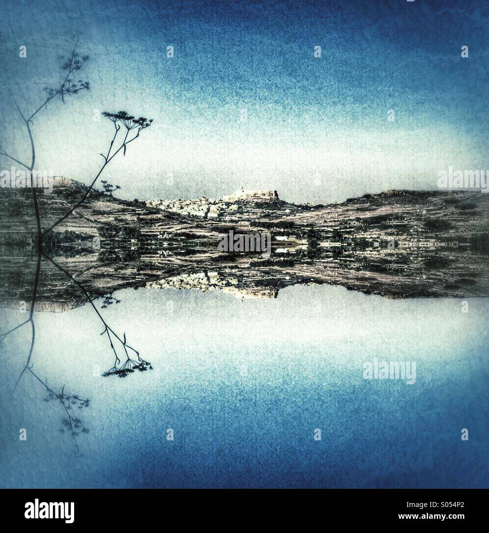 Mirrored image of Victoria Citadel from Xaghra. - Stock Image