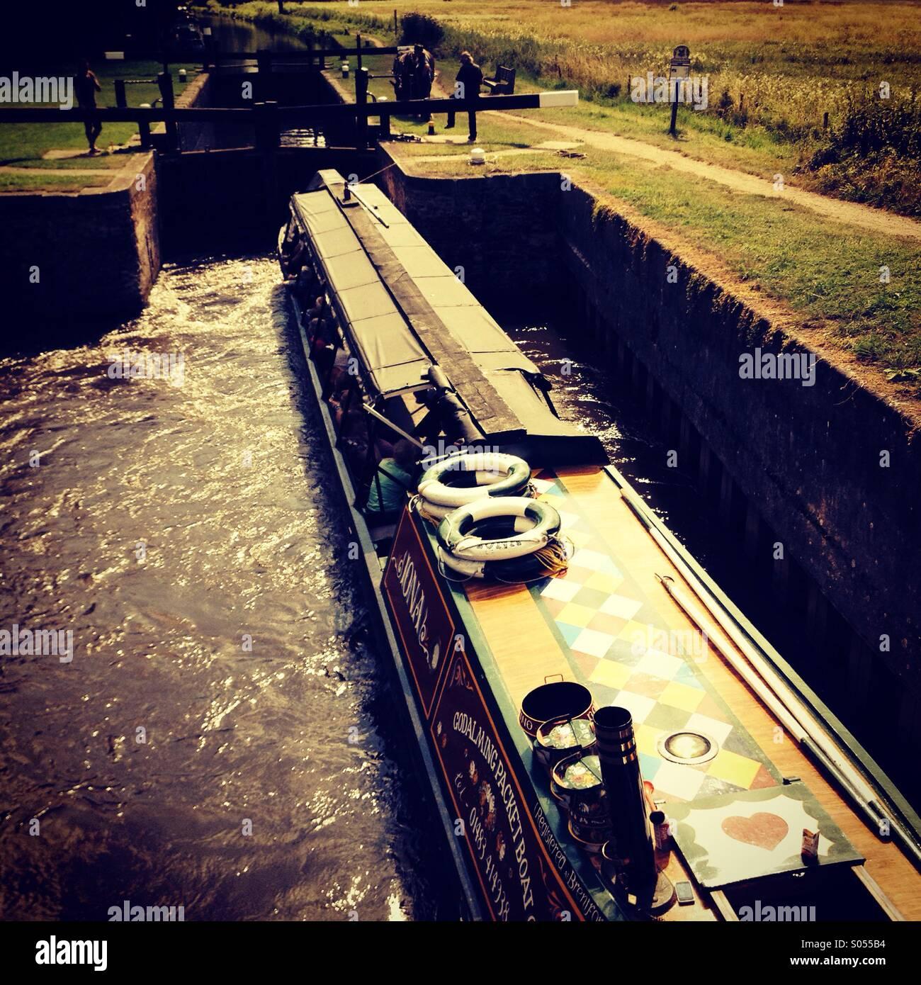 Catteshall Lock, Godalming, Surrey, UK. - Stock Image