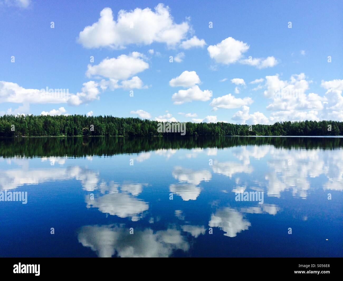 Beautiful lake in summertime - Stock Image